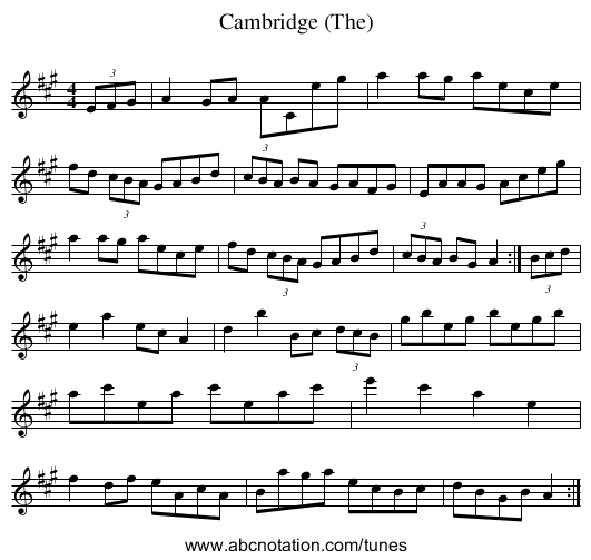 Cambridge (The) - staff notation