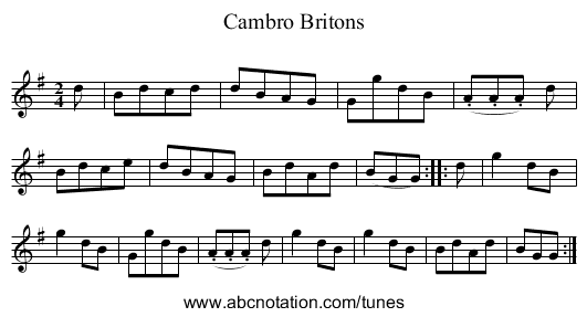 Cambro Britons - staff notation