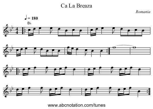 Camceto - staff notation