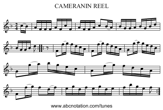 CAMERANIN REEL - staff notation