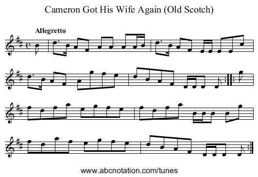 Cameron Got His Wife Again (Old Scotch) - staff notation