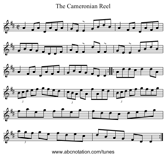 Cameronian Reel, The - staff notation