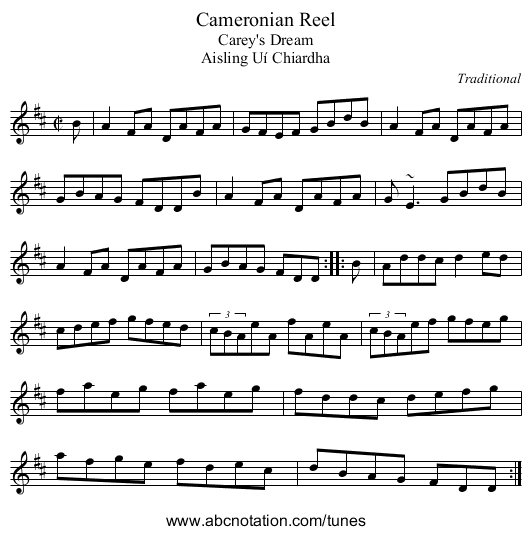Cameronian Reel - staff notation
