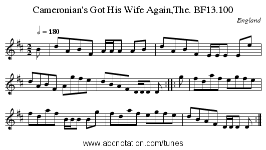 Cameronian's Got His Wife Again,The. BF13.100 - staff notation