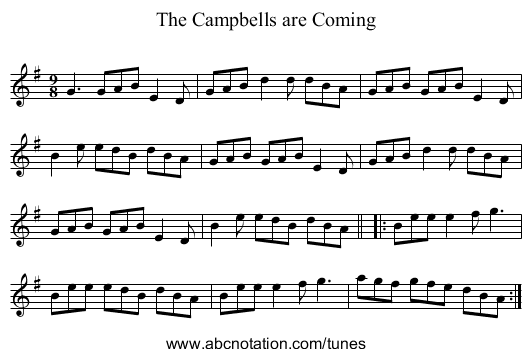 Campbells are Coming, The - staff notation
