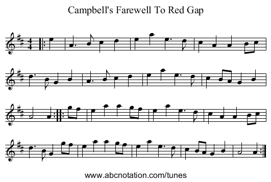 Campbell's Farewell To Red Gap - staff notation