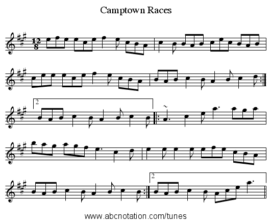 Camptown Races - staff notation