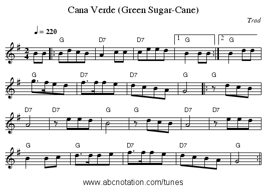 Cana Verde (Green Sugar-Cane) - staff notation