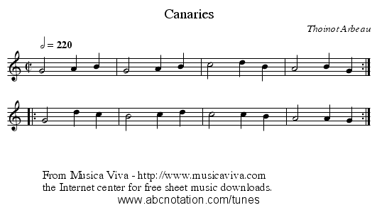 Canaries - staff notation