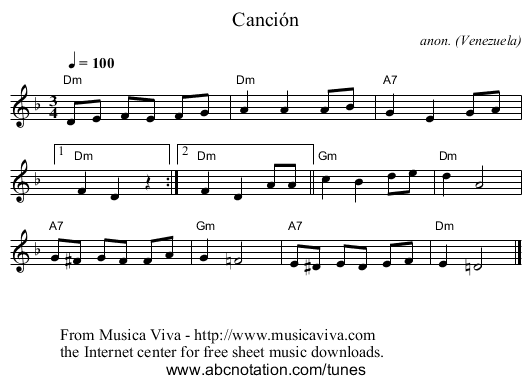 Canción - staff notation