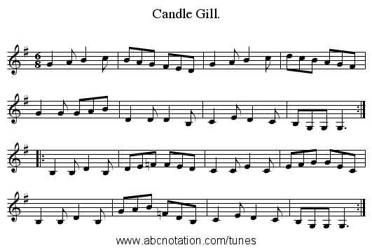 Candle Gill. - staff notation