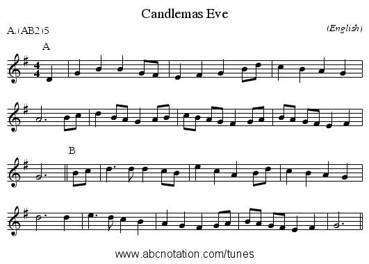 Candlemas Eve - staff notation