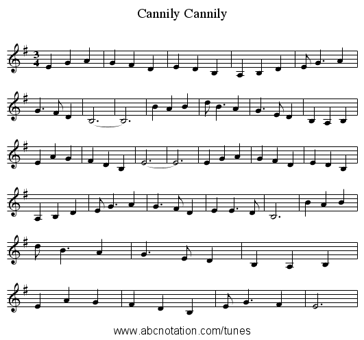 Cannily, Cannily - staff notation