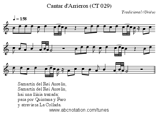 Cantar d'Arrieros (CT 029) - staff notation