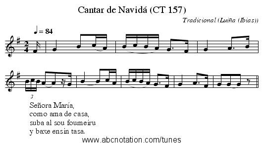 Cantar de Navidá (CT 157) - staff notation