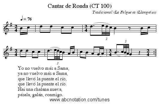 Cantar de Ronda (CT 100) - staff notation