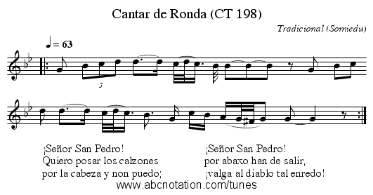 Cantar de Ronda (CT 198) - staff notation