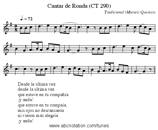 Cantar de Ronda (CT 290) - staff notation