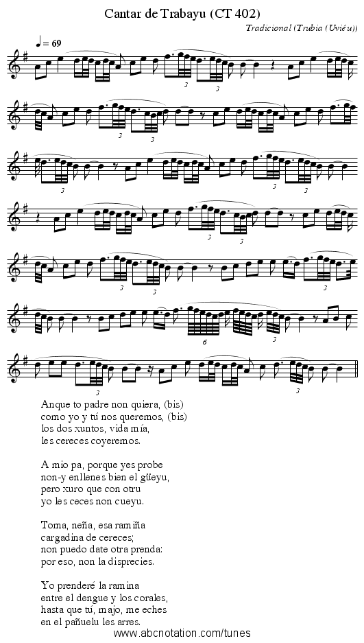 Cantar de Trabayu (CT 402) - staff notation