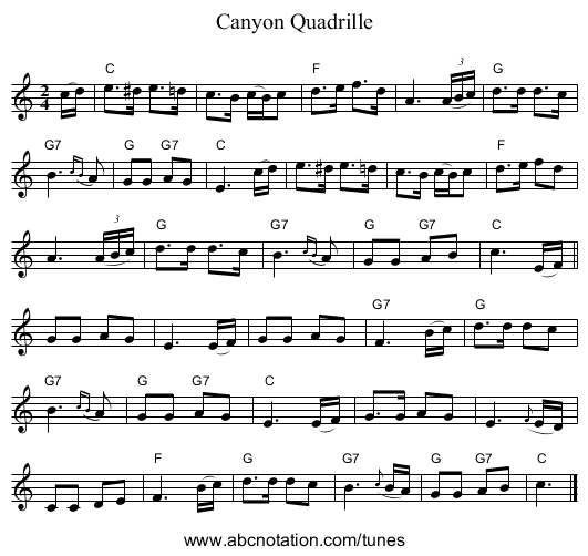 Canyon Quadrille - staff notation