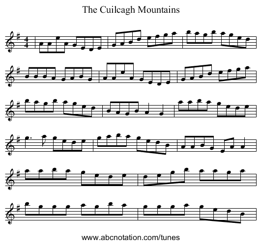 Caoilte Mountains - staff notation