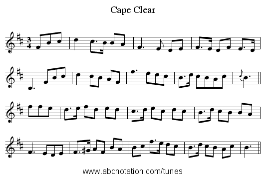 Cape Clear - staff notation