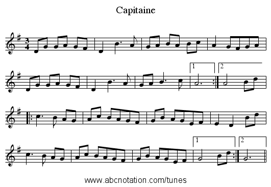 Capitaine - staff notation