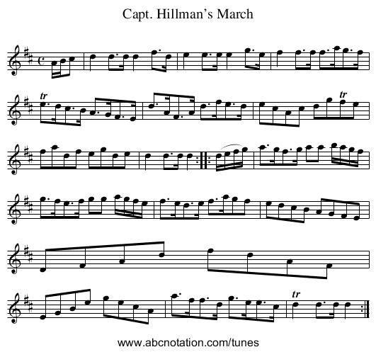 Capt. Hillman's March - staff notation