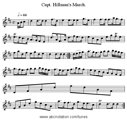 Capt. Hillman's March. - staff notation