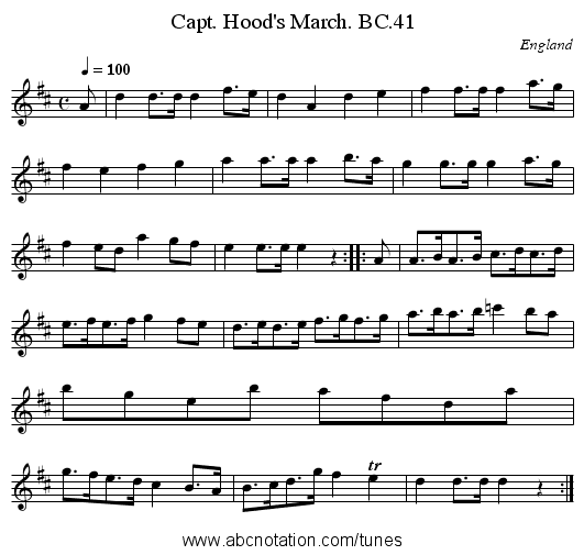 Capt. Hood's March. BC.41 - staff notation
