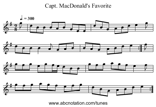 Capt. MacDonald's Favorite - staff notation