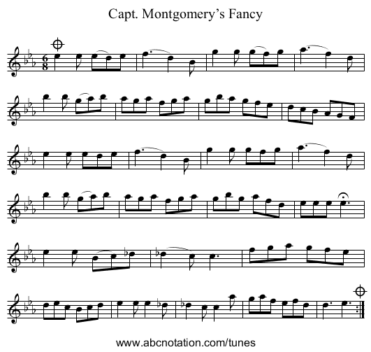 Capt. Montgomery's Fancy - staff notation