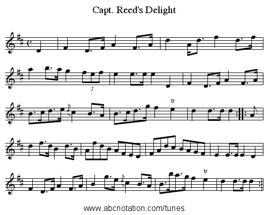 Capt. Reed's Delight - staff notation