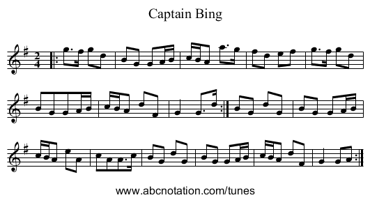 Captain Bing - staff notation