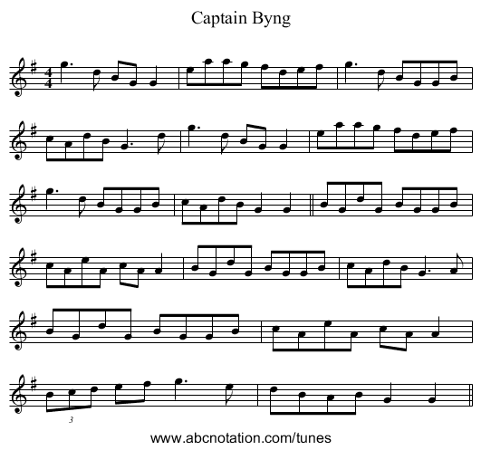 Captain Byng - staff notation