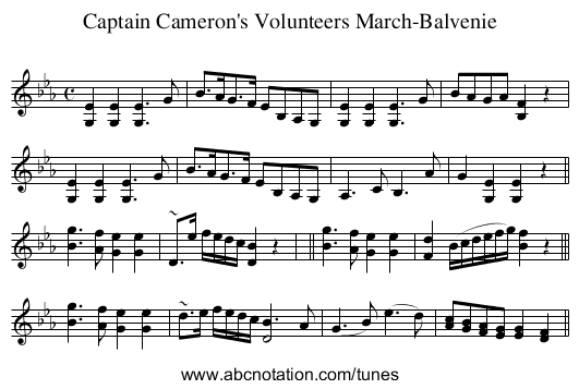 Captain Cameron's Volunteers March-Balvenie - staff notation