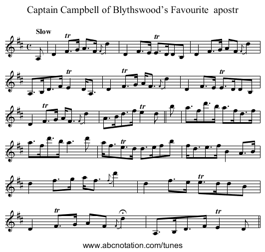 Captain Campbell of Blythswood's Favourite  apostr - staff notation