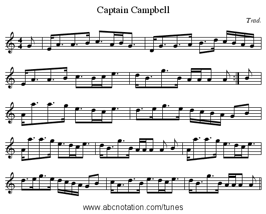 Captain Campbell - staff notation