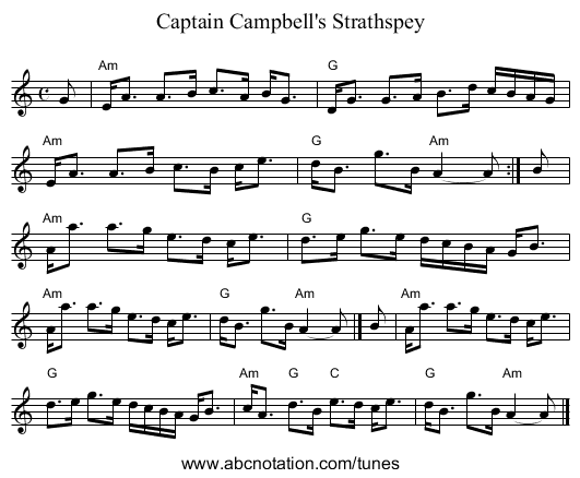 Captain Campbell's Strathspey - staff notation