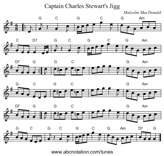 Captain Charles Stewart's Jigg - staff notation