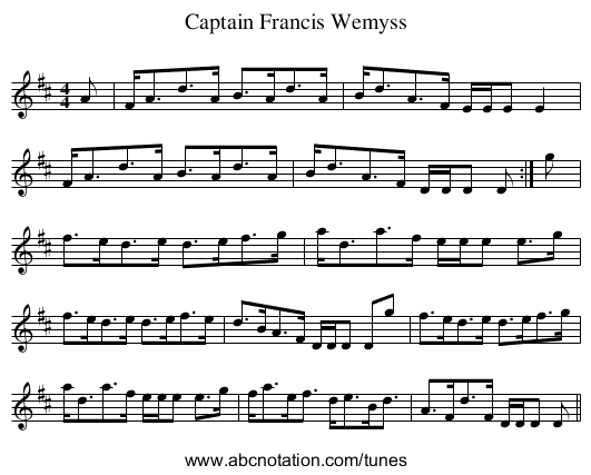 Captain Francis Wemyss - staff notation