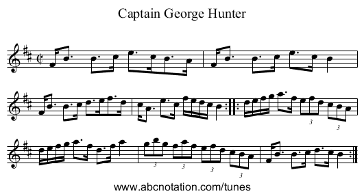 Captain George Hunter - staff notation
