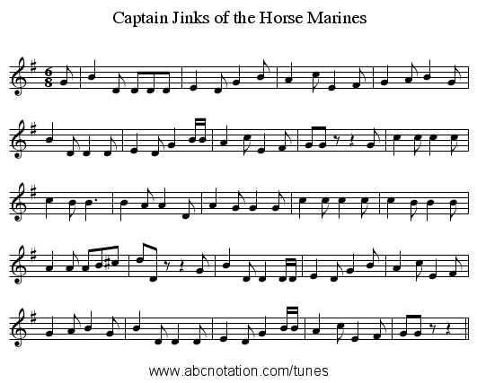 Captain Jinks of the Horse Marines - staff notation