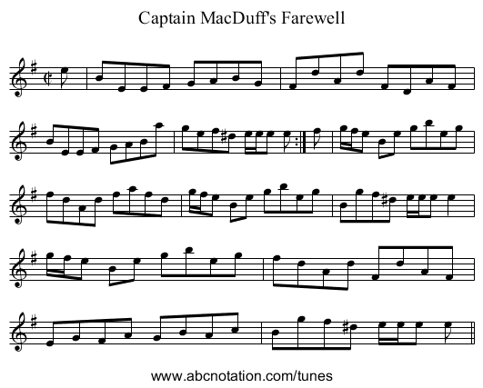 Captain MacDuff's Farewell - staff notation