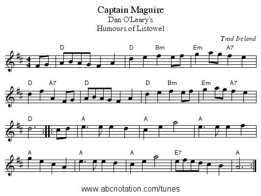 Captain Maguire - staff notation