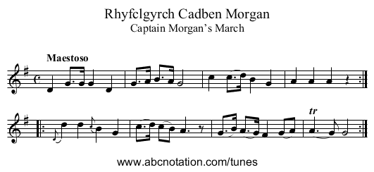 Captain Morgan's March - staff notation
