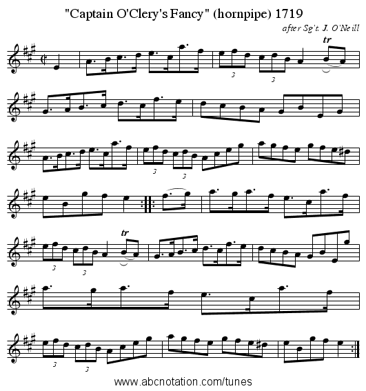Captain O'Clery's Fancy (hornpipe) 1719 - staff notation