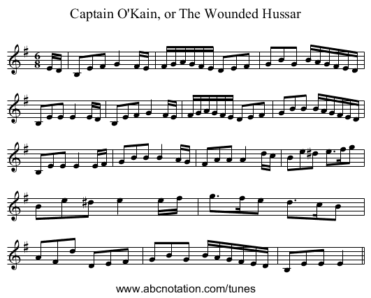 Captain O'Kain, or The Wounded Hussar - staff notation