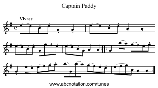 Captain Paddy - staff notation