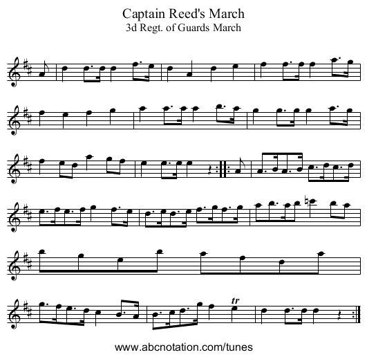 Captain Reed's March - staff notation